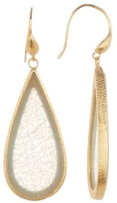 Rivka Friedman 18K Clad Teardrop Sliced Caribbean Blue Quartzite Hook Satin Earrings