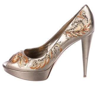 Sergio Rossi Leather Embellished Pumps