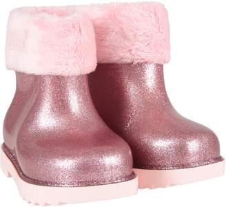 Melissa Pink Lurex Girl Rain Boots With Logo