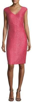 St. John Hansh-Knit V-Neck Cocktail Dress