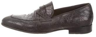 Tom Ford Crocodile Braided Band Loafers