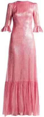 THE VAMPIRE'S WIFE Festival ruffle-trimmed silk-blend lamé dress