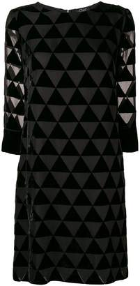 Clips triangle mosaic sheer dress