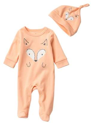 Baby Starters Fox Footie & Knot Hat Set (Baby)
