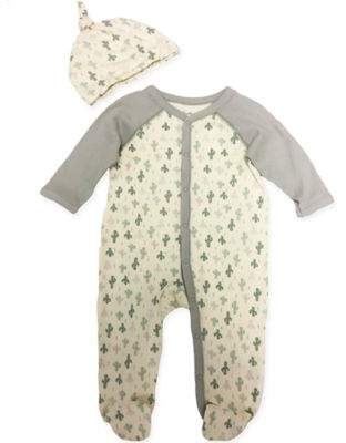 Sterling Baby 2-Piece Cactus Footie and Hat Set in Grey