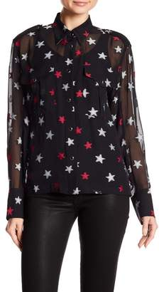 Rag & Bone Pearson Star Print Silk Blend Shirt
