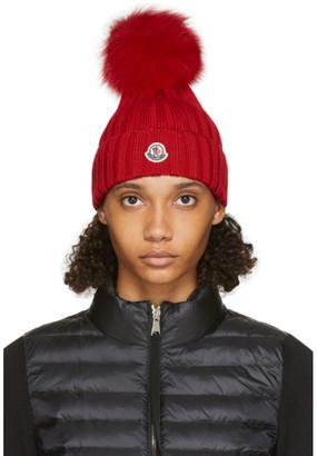 Moncler Red Fur Rib Pom Pom Beanie