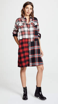 McQ Alexander McQueen Patched Tartan Shirt Dress