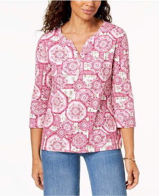 Karen Scott Petite Cotton Printed Split-Neck Top, Created for Macy's