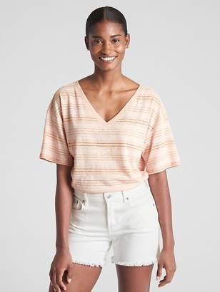 Gap Short Sleeve Stripe V-Neck T-Shirt