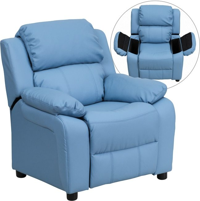 Flash Furniture Deluxe Heavily Padded Contemporary Light Blue Vinyl Kids Recliner with Storage Arms