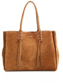 Lanvin Small Tasseled Suede Tote $1,495 thestylecure.com