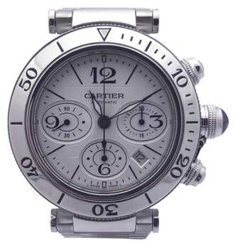 Cartier Pasha Seatimer W31089M7 Chronograph on Stainless Steel Bracelet Silver Dial 40.5mm Mens Watch