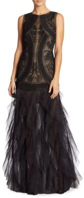 BCBGMAXAZRIA V-Back Lace & Tulle Gown $598 thestylecure.com