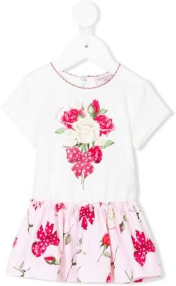 MonnaLisa rose and bow print dress