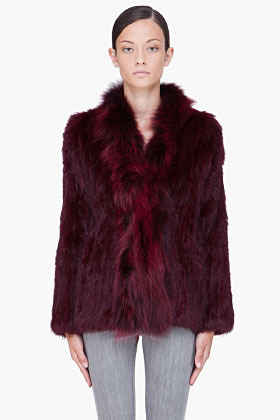 ELIZABETH AND JAMES Burgundy Bianca Rabbit Fur Jacket