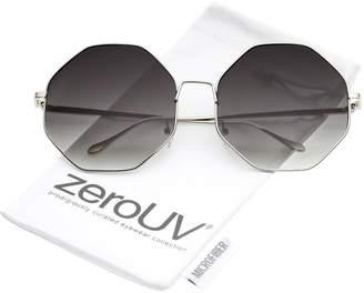 Zerouv Oversize Metal Frame Slim Temple Gradient Lens Hexagon Sunglasses 63mm ( / Lavender)