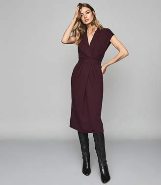 Reiss MAXIME WRAP FRONT SLIM FIT DRESS Burgundy