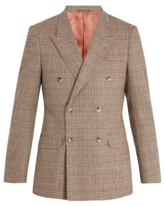 Gucci Double Breasted Checked Wool Blend Blazer - Mens - Beige