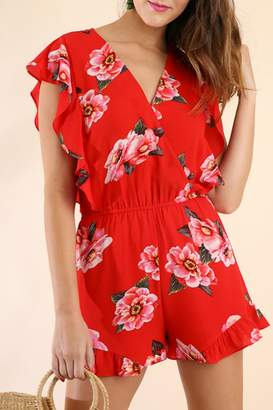 Umgee USA Floral Ruffle Romper
