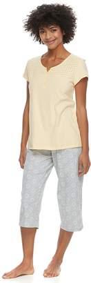 Croft & Barrow Women's Petite Eyelet Trim Capri Pajama Set