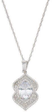 Sterling Silver Baguette Cz Pendant Necklace