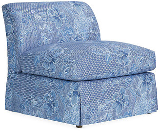Ralph Lauren Home Atherton Skirted Slipper Chair - Java Sea Linen