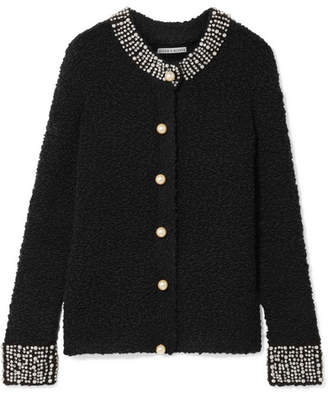 Alice + Olivia Alice Olivia - Devona Crystal And Faux-pearl Embellished Wool-blend Bouclé Cardigan - Black