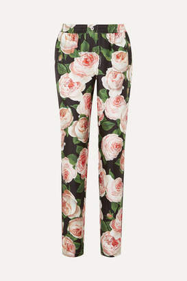 Dolce & Gabbana Floral-print Silk-charmeuse Tapered Pants - Pink