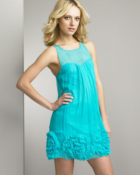 Rebecca Taylor Ruffled-Hem Chiffon Dress