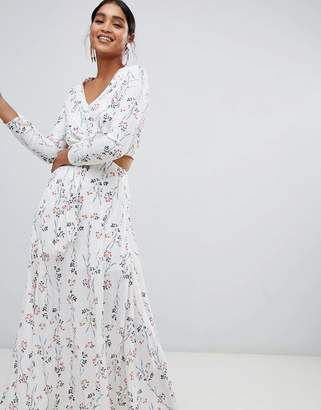 Liquorish floral print cutaway maxi dress