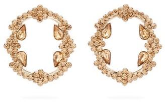 Etro Crystal Embellished Hoop Earrings - Womens - Gold