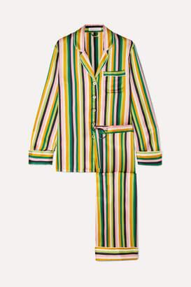 Olivia von Halle Lila Striped Silk-satin Pajama Set - Green