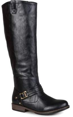 Co Brinley Women's Wide Calf Round Toe Buckle Detail Boots