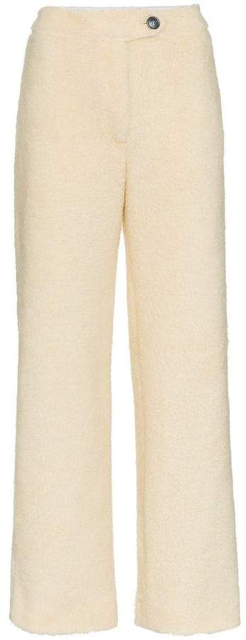 faux shearling trousers