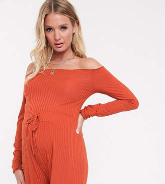 Fashionkilla Maternity ribbed off shoulder frill top in rust