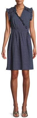 Rebecca Taylor Sleeveless Surplice Ruffle Ikat-Dot Dress