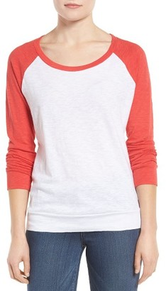 Women's Caslon Lightweight Colorblock Cotton Tee $29 thestylecure.com