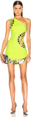 David Koma Circle Embellished One Should Dress in Neon Yellow & Silver | FWRD