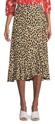 Rixo Silk Gracie Leopard Wrap Midi Skirt