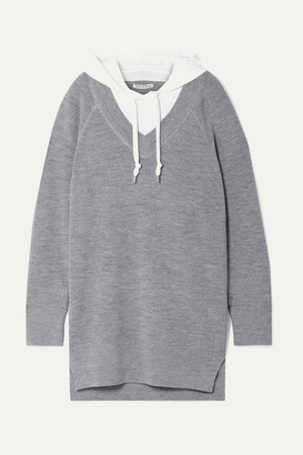 Alexander Wang Hooded Layered Wool And Cotton-blend Jersey Mini Dress - Gray