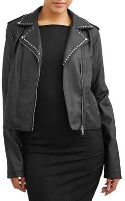 New Look Juniors' Faux Leather Biker Jacket