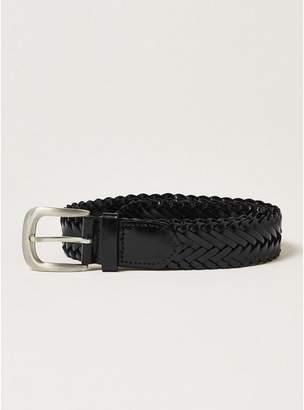 Topman Mens Black Leather Plait Belt