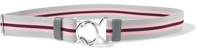 prada Prada - Striped Canvas Waist Belt - Gray