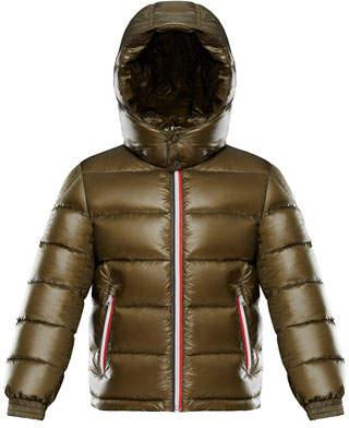 Moncler Gastonet Puffer Coat w/ Tricolor Zippers, Size 4-6