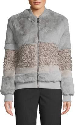 John & Jenn John + Jenn Faux Fur Bomber Jacket