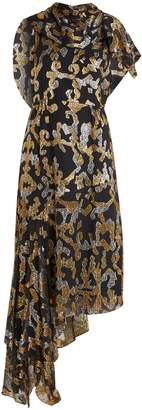 Peter Pilotto Abstract fil-coupé draped silk-blend dress