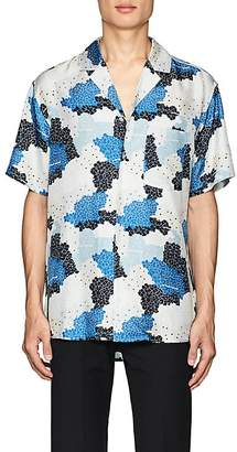 Off-White MEN'S FLORAL & CAMOUFLAGE SILK SHIRT