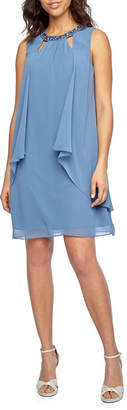 Alex Evenings S. L. Fashions Sleeveless Beaded Neck Shift Dress