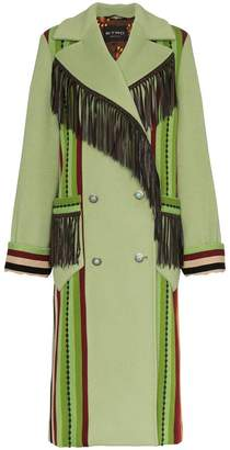 Etro leather fringe double-breasted wool coat